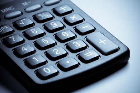 colorize: Calculator keyboard close-up. Method of colorize. Stock Photo