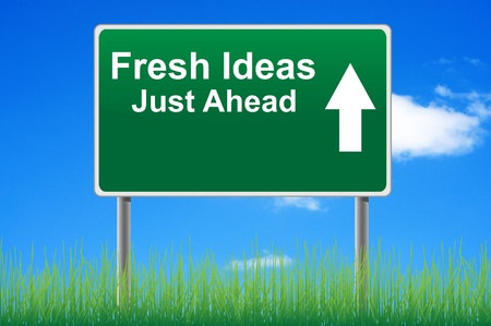 concepts and ideas: Fresh ideas road sign on sky background, grass underneath.