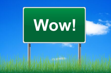 Wow road sign on sky background. Bottom grass. Stock Photo