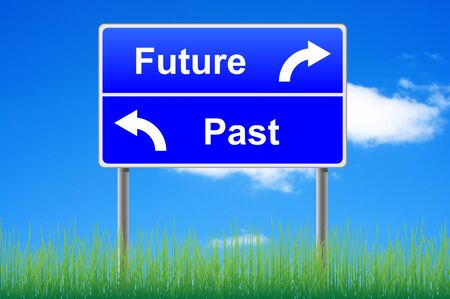 Future past conceptual signpost on sky background. photo