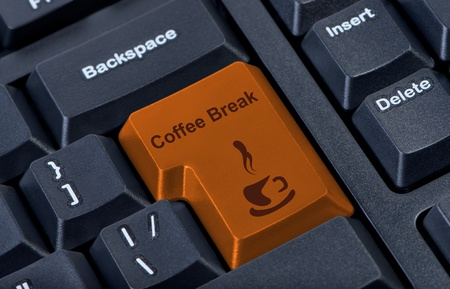 Button keypad coffee break with cup. photo