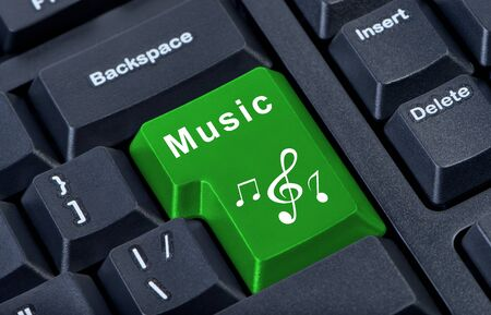 note pc: Button keypad music with treble clef and notes. Stock Photo