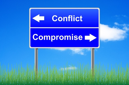 Conflict compromise roadsign on sky background, grass underneath.