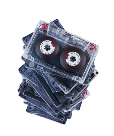 audio cassette: Stack audio cassettes isolated on white background without shadow. Clipping paths. Stock Photo