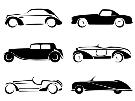 oude autos: Oude auto's silhouetten set vector. Stock Illustratie