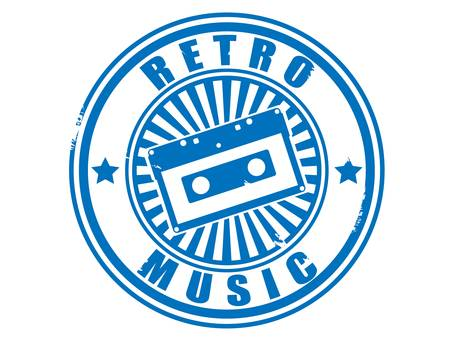 Stamp audiocassette retro music vector. Vector
