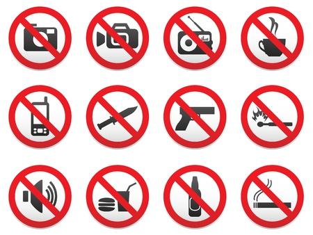 förbjuda: Att förbjuda tecken vektorformat set. Illustration