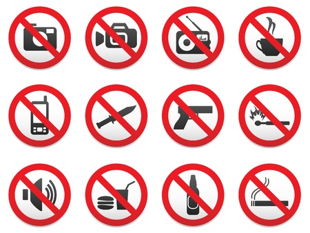 Prohibiting signs vector format set. Stock Vector - 10881480
