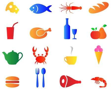 Set bright color food icons vectorl. Vector