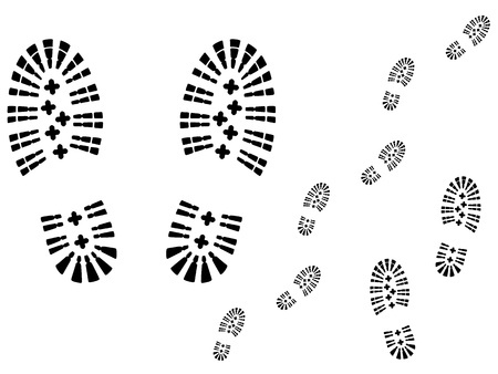 Shoe prints. Track marks vector.