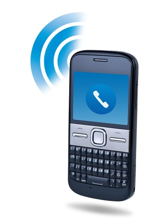 Cell phone connection technology concept on white background. Standard-Bild