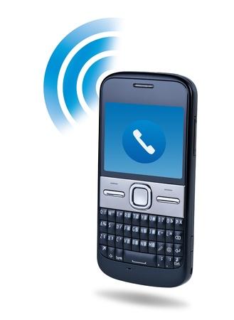 repondre au telephone: T�l�phone cellulaire technologie de connexion concept sur fond blanc. Banque d'images