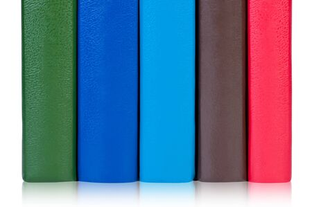 scientific literature: Books with colorful covers. Stock Photo