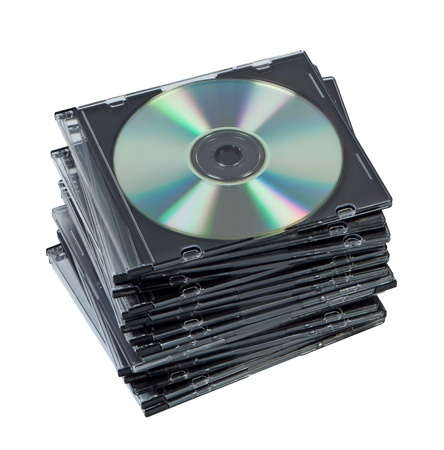 Stack CD discs in box isolated. Stock Photo - 11151312