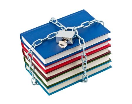 Books in chains closed padlock isolated on white background. photo