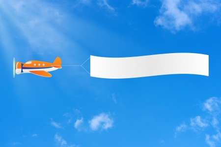 carries: Flying aircraft carries banner in sky. Stock Photo