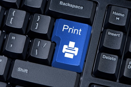 large office: Print blue button computer keyboard internet concept. Stock Photo