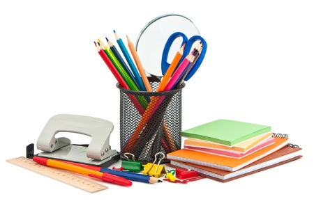 Stationery on white background. photo