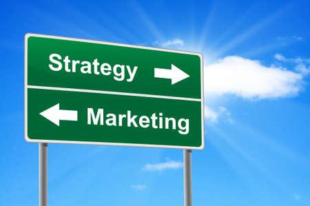 advisory: Strategy marketing road sign on background clouds and sunburst.