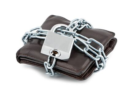 Wallet in chains closed padlock on white background. photo