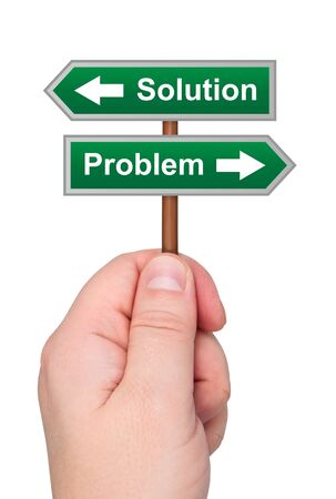 advisory: Waymark arrows solution problem in hand isolated on white background.