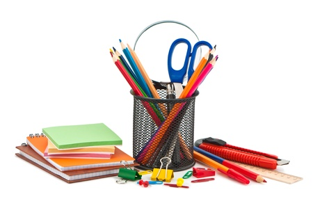 Miscellaneous office supplies on white background. photo