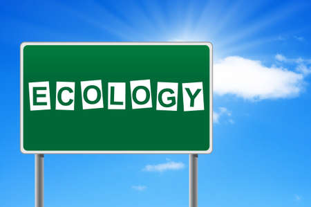 Road sign with word ecology. photo