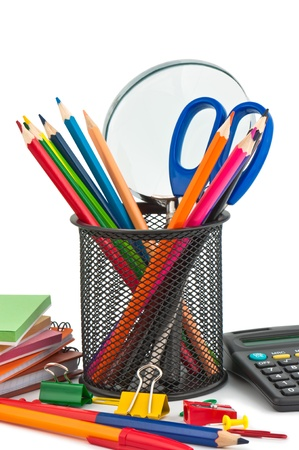 office appliances: Stationary appliances for office, school and home. Stock Photo