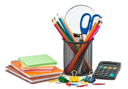 Stationery on white background for office or school.