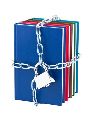 scientific literature: Books closed on padlock and chain isolated on white background.