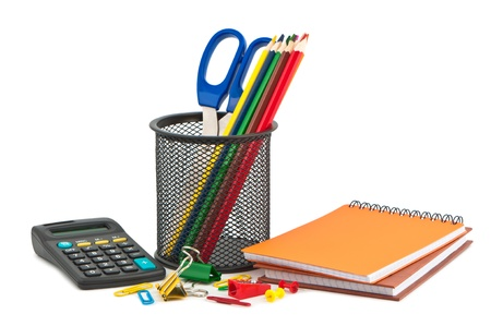 Different set of stationery items on white background.