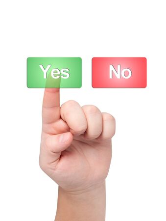 Finger presses button with word yes. Stock Photo - 11590898
