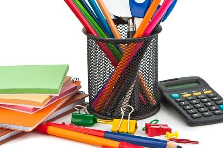 Set of stationery items on white background. Standard-Bild