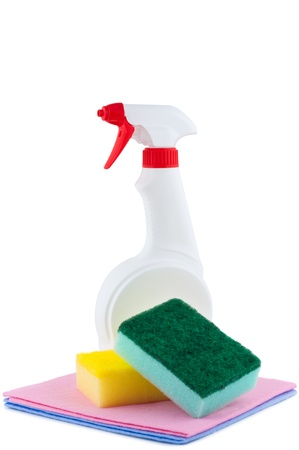 tidying up: Sprayer with rags and sponge for cleaning.  Stock Photo