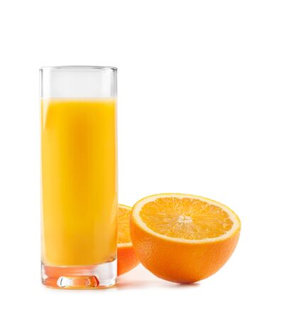 tall glass: Orange juice in glass isolated on background.