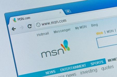 FASTIV, UKRAINE - OCTOBER 20, 2011: MSN start page internet service provider, e-mail service Hotmail, MSN Messenger October 20, 2011 in Fastiv, Ukraine. Editorial