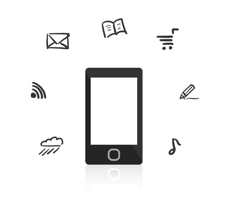 Smartphone with touch screen  Around the device hand-drawn icons  photo