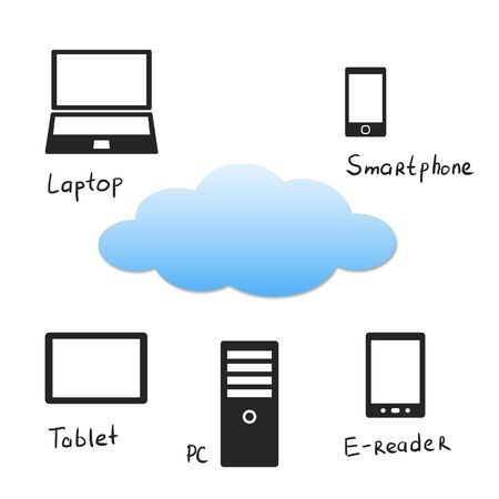 pda: Cloud concept with personal electronic devices  Stock Photo