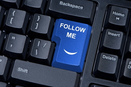 follow me: Follow me computer keyboard button  The concept of social networks  Stock Photo