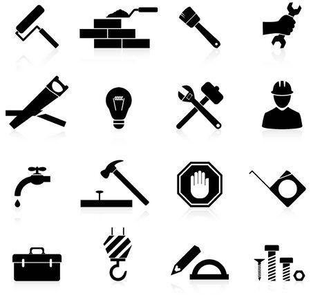 tuercas y tornillos: Iconos de la construcción y reparación de conjunto Vectores