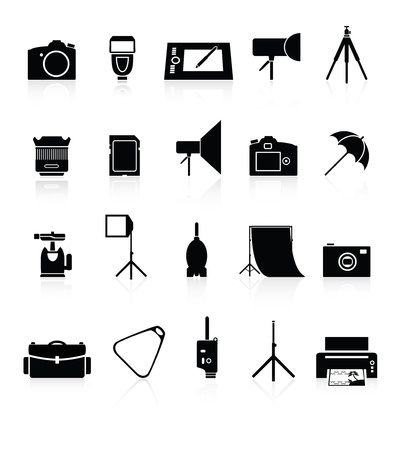 Icons set of photo equipment and accessories