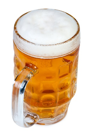 Glass of fresh beer on white background top view Standard-Bild
