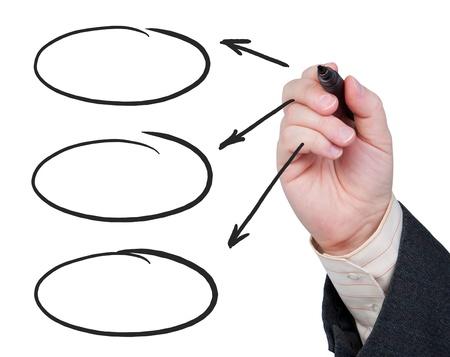 marcador: Mano con flechas de punta de fieltro dibujo a pluma sobre glassand tres �valos con espacio para el texto.
