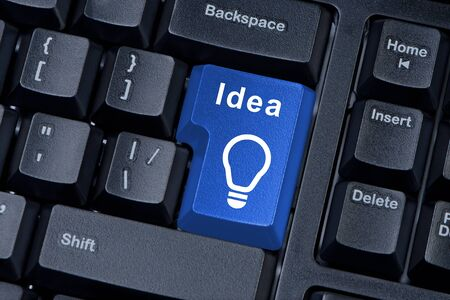 Button computer keyboard with word IDEA and icon light bulb. Stock Photo - 12884053