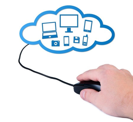 Hand with computer mouse cloud computing concept. photo
