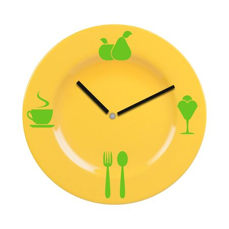 dial plate: Plate with a dial and icon food. Concept of meal time. Stock Photo