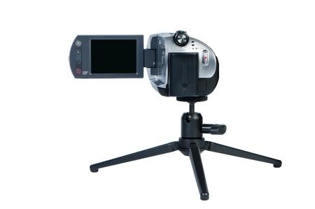 lsd: Camcorder with LSD display on mini-tripod.  Stock Photo