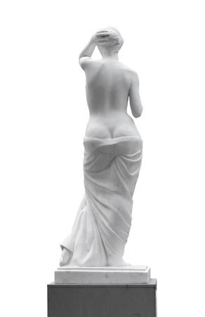 Statue of a woman look back isolated on white background. Stock Photo