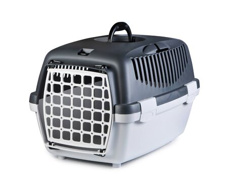 cat carrier: Box for pets on a white background.
