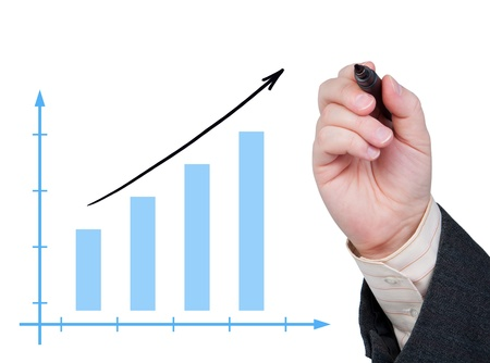 bargraph: Diagram and the arm with a marker that draws an arrow. Stock Photo